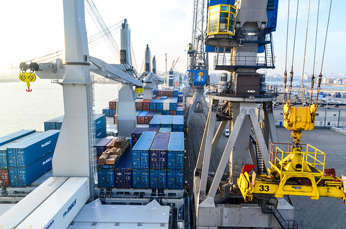 Container crane ready to unload, port of Rotterdam