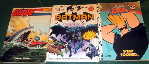 , 20150516 – yardsale haul – IMG_0418 – G.I. Joe & Johnny Bravo coloring books, Batman sticker book, My cartoon Blog, My cartoon Blog