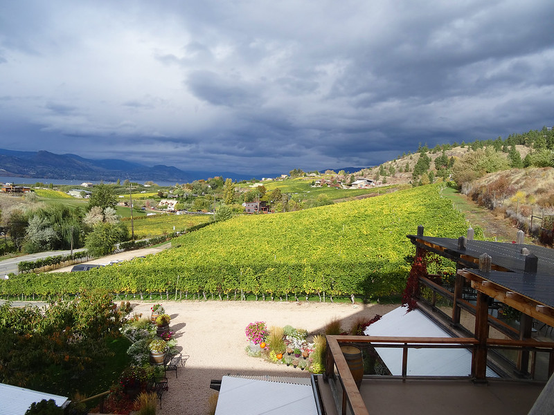 Image of gloomy skies and Okanagan wineries