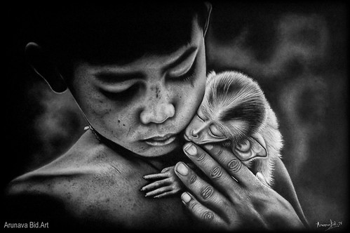 Tenderness (A charcoal drawing)