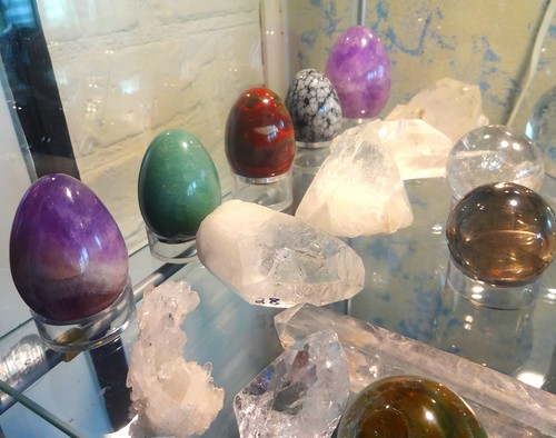 Crystal yoni eggs, crystal spheres, and raw quartz points and clusters; primary mineral formation
