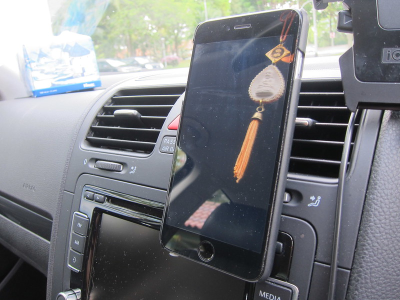 Logitech + trip Universal Air Vent Mount - In Car With iPhone 6 Plus in Krusell Malmö Wallet+Cover 2-in-1 Case