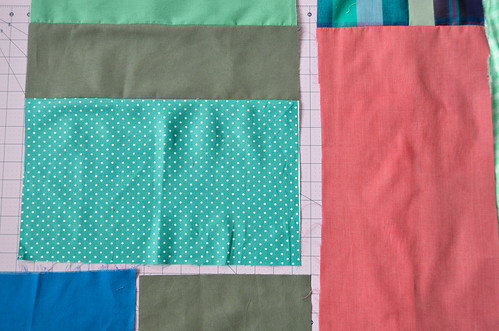 Step 2: Sewing patchwork quilt backing together
