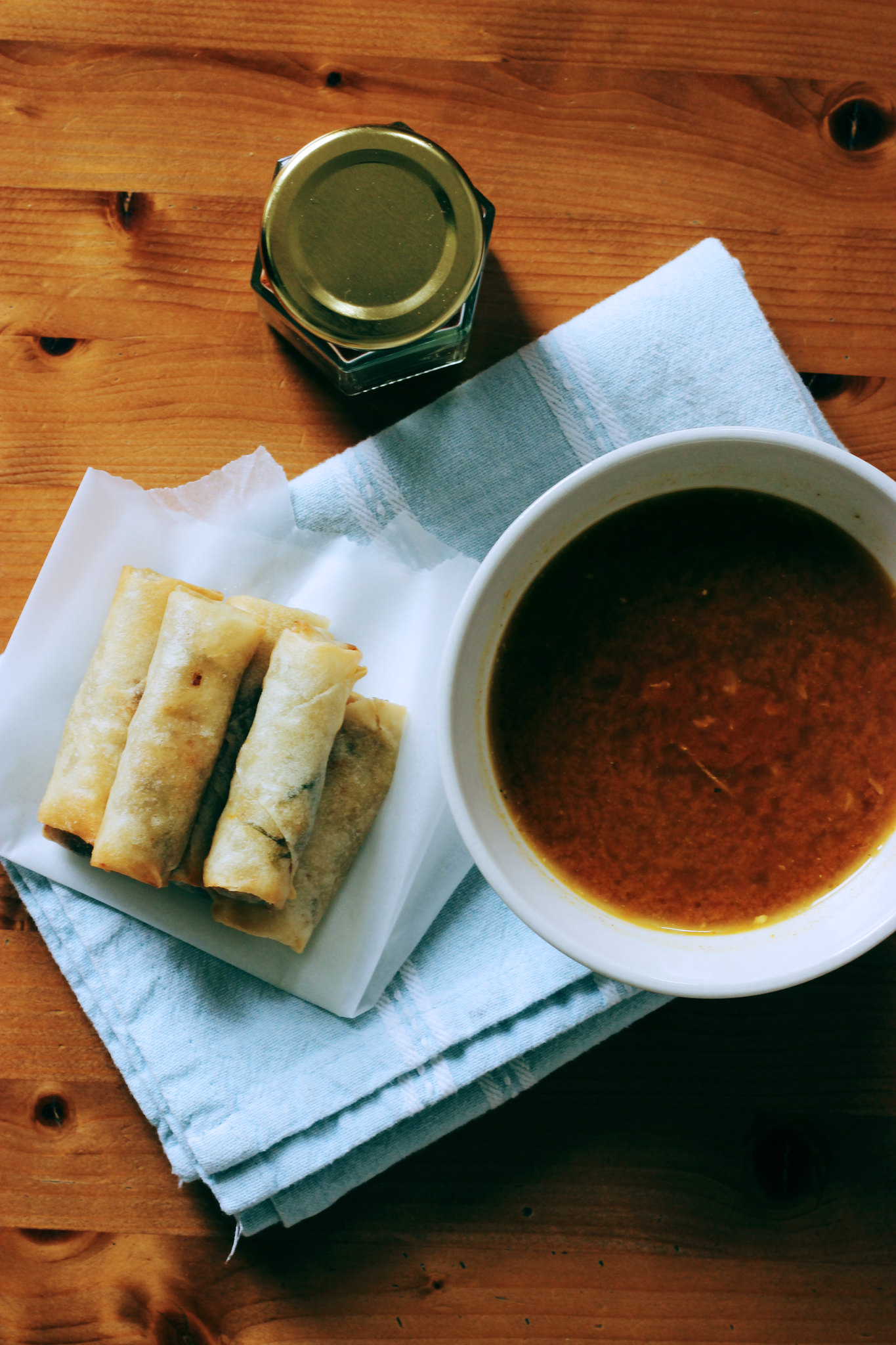 Vegetarian Spring Rolls and Tomato Soup