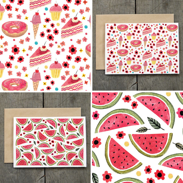 Watermelon and Cake cards