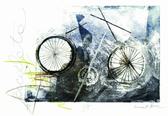 MarÃ-a Inés Rivera. De la serie de la Bicicletas. 124x86 cm. Agua tinta, punta seca, agua fuerte.