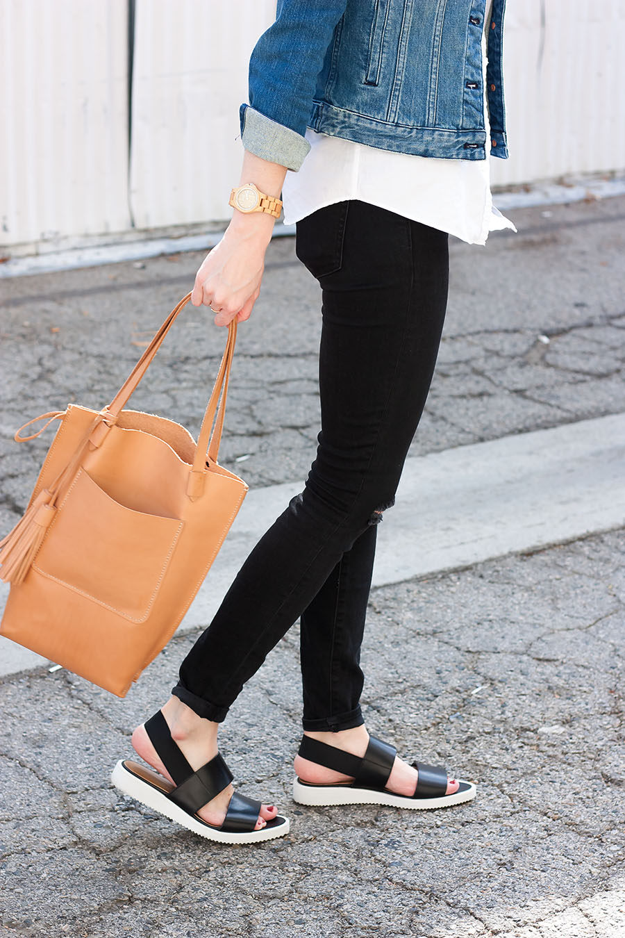 Everlane, Everlane Street Sandal, Leather Tote Bag, Black Skinny Jeans, Jord Watch