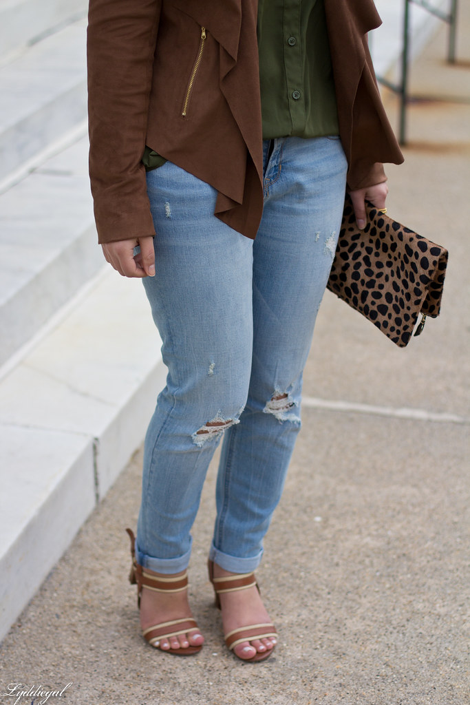 green button down, brown draped jacket, distressed denim-7.jpg