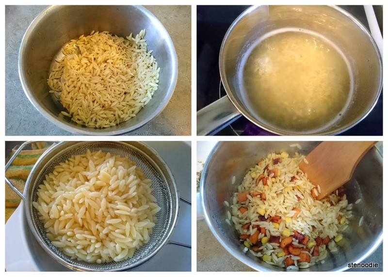 cooking orzo and sweet potatoes