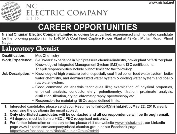 NC Electric Company Labortary Chemist Required