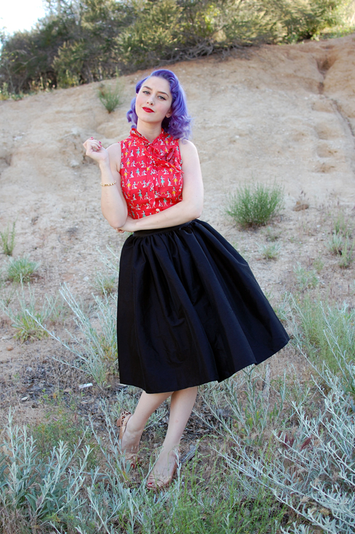 Ella Top in Hula Honey Pinup Girl Clothing Jenny skirt in Black Sharkskin Taffeta