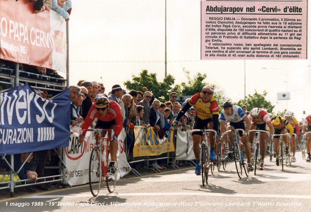Trofeo Papà Cervi 1989 - nello sprint finale Djamolidine Abdoujaparov (URSS) precede Giovanni Lombardi (G.S. Ultragas Bassano) e Walter Brambilla (Sporting Club Lissone)