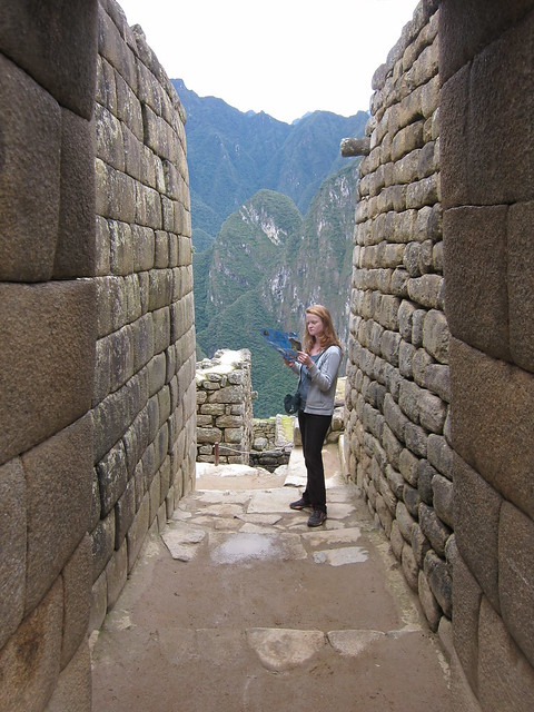 Consulting the map of Machu Picchu
