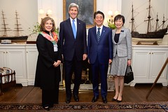 U.S. Secretary of State John Kerry and his wife, Teresa Heinz Kerry, pose with Japanese Prime Minister Shinzo Abe and his wife, Akie Abe, inside their home on Beacon Hill in Boston, Massachusetts, on April 26, 2015, before a working dinner at the outset of the Abes' weeklong State visit to the United States. [State Department photo/ Public Domain]