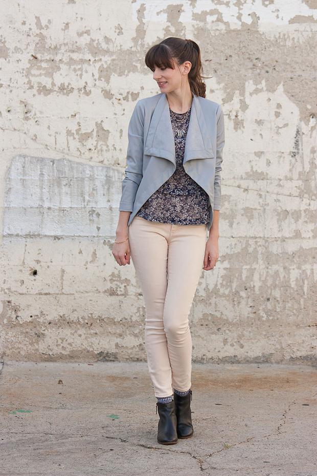 Grey Jacket, Peach Jeans, Floral Blouse