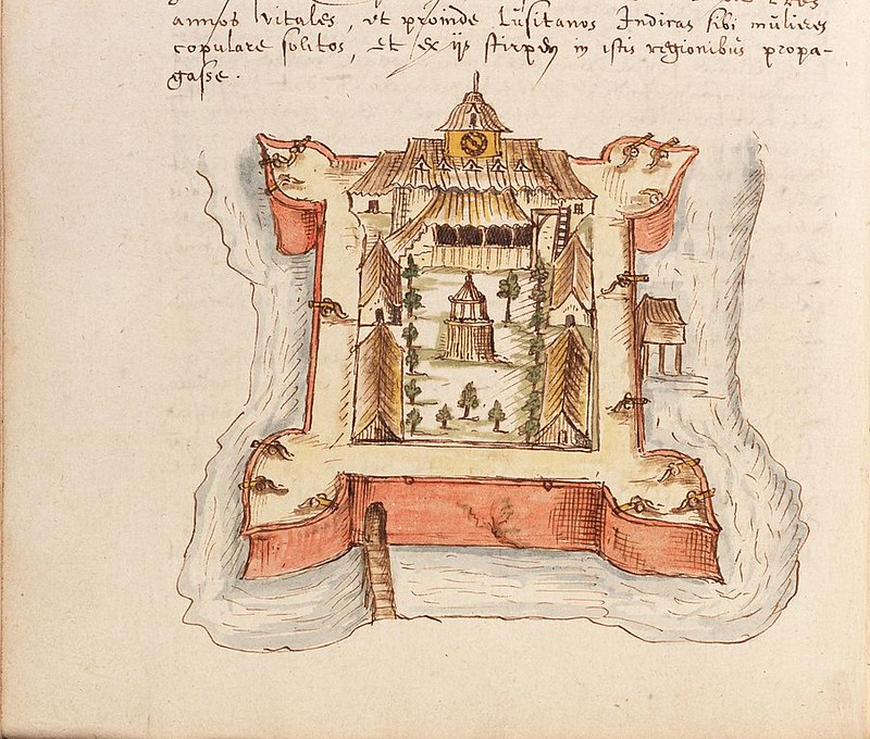 Drawing of Fort Victoria on Ambon Island, a governorate of the Dutch East India Company