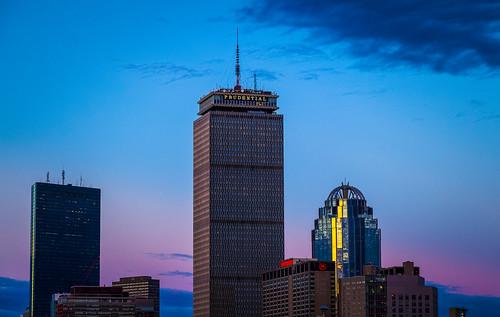new city blue england boston skyline night bay back purple dusk massachusetts fenway hancock mass prudential