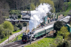 Steam train at Corfe Castle Station