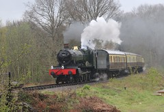 """Manor Class 4-6-0 7802 approaching Highley on the Severn Valley Railway with a """"Footplate Experience"""" special on 2nd. May 2016."""