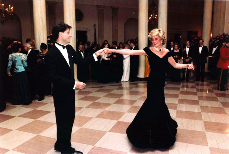 Princess Diana dancing with John Travolta in the entrance hall at the White House