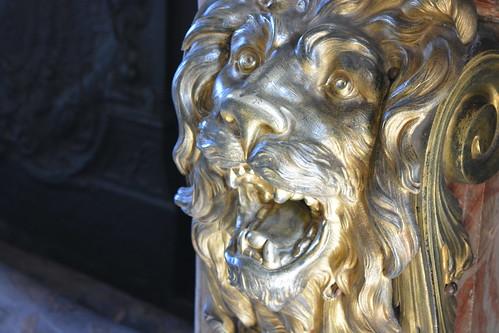 Lion head on a chimney
