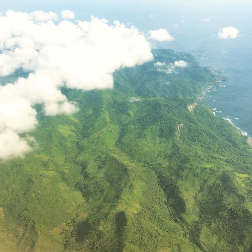 Flying over the picturesque landscape of Bali
