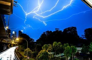 Lightning above Singapore
