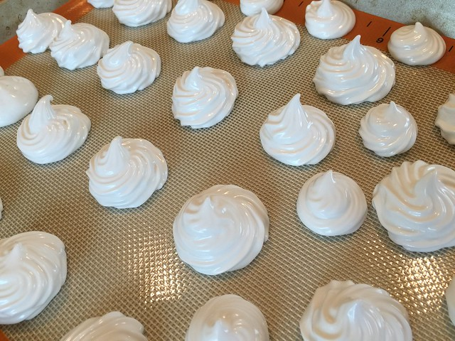 Pipe Meringue onto Lined Cookie Sheet