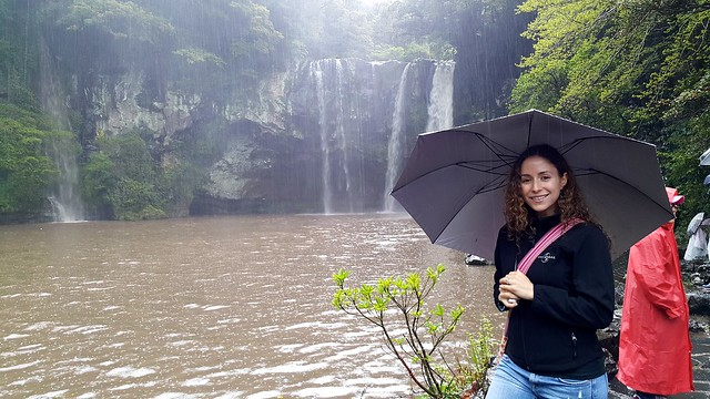 Me at Cheonjiyeon Waterfall