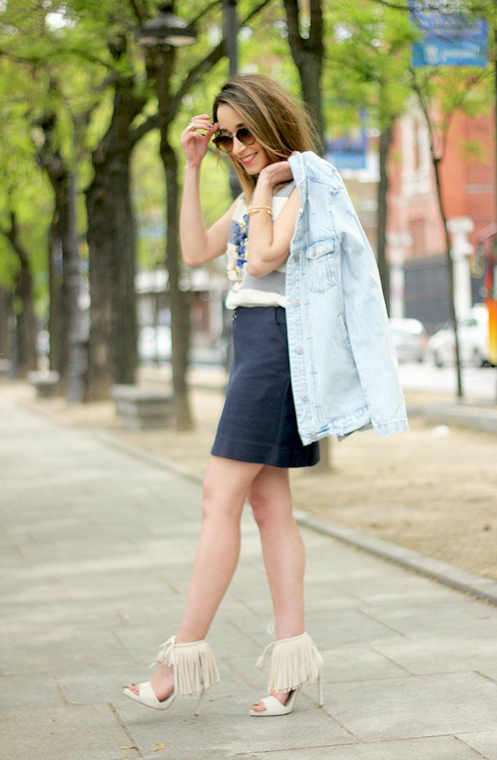 Blue Skirt Striped Top fringed sandals19