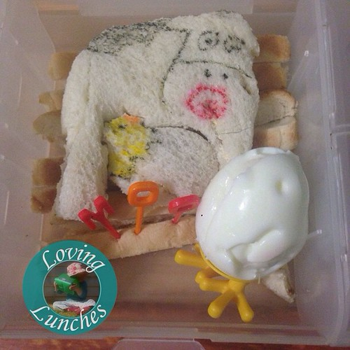 Loving being all over the shop today… this is what Miss M took in her @nudefoodmovers today- #LiteraryLunch  'The Cow That Laid An Egg'. So much fun using our new Fred&Friends chick egg mold. And loved turning the Linch Punch baby cow into a chick in egg!