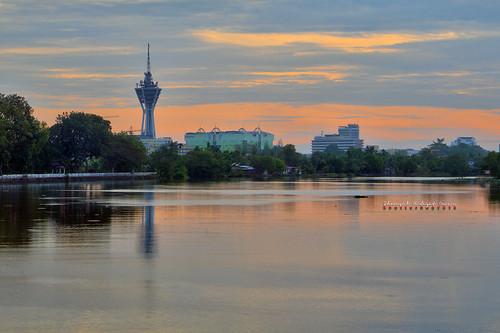 city reflection tower tourism water sunrise river landscape photography high interesting nikon scenery dynamic places scene malaysia omar range hdr kedah alor setar hidayat greatphotographers shamsul photoengine oloneo d800e