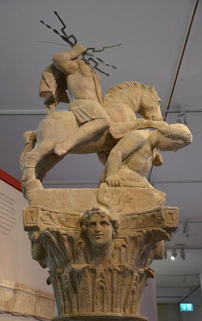 Jupiter on horseback slaying an anguiped giant, from the top of a Jupiter column, found in Sinsheim, around 200 AD, Badisches Landesmuseum Karlsruhe, Germany