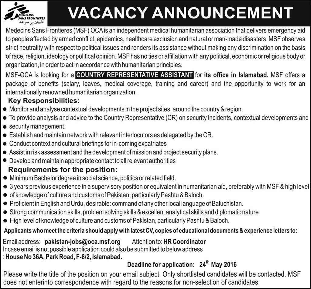 MSF OCA Career Opportunities