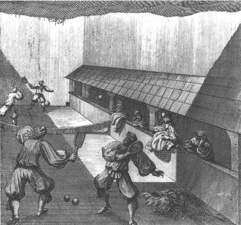 Real Tennis (predecessor of modern tennis) in Germany, 17th century.
