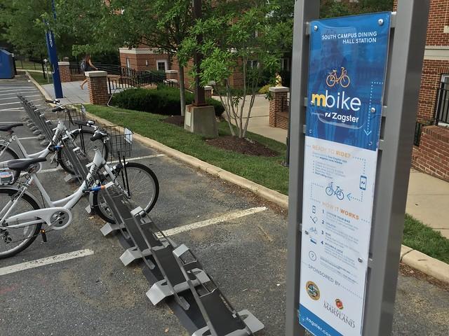 mBike Bikeshare Station at UMD Sign
