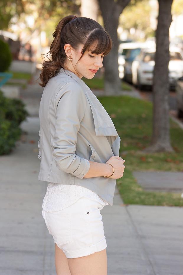 Grey Leather Jacket, White Lace Tee, White Shorts, BB Dakota