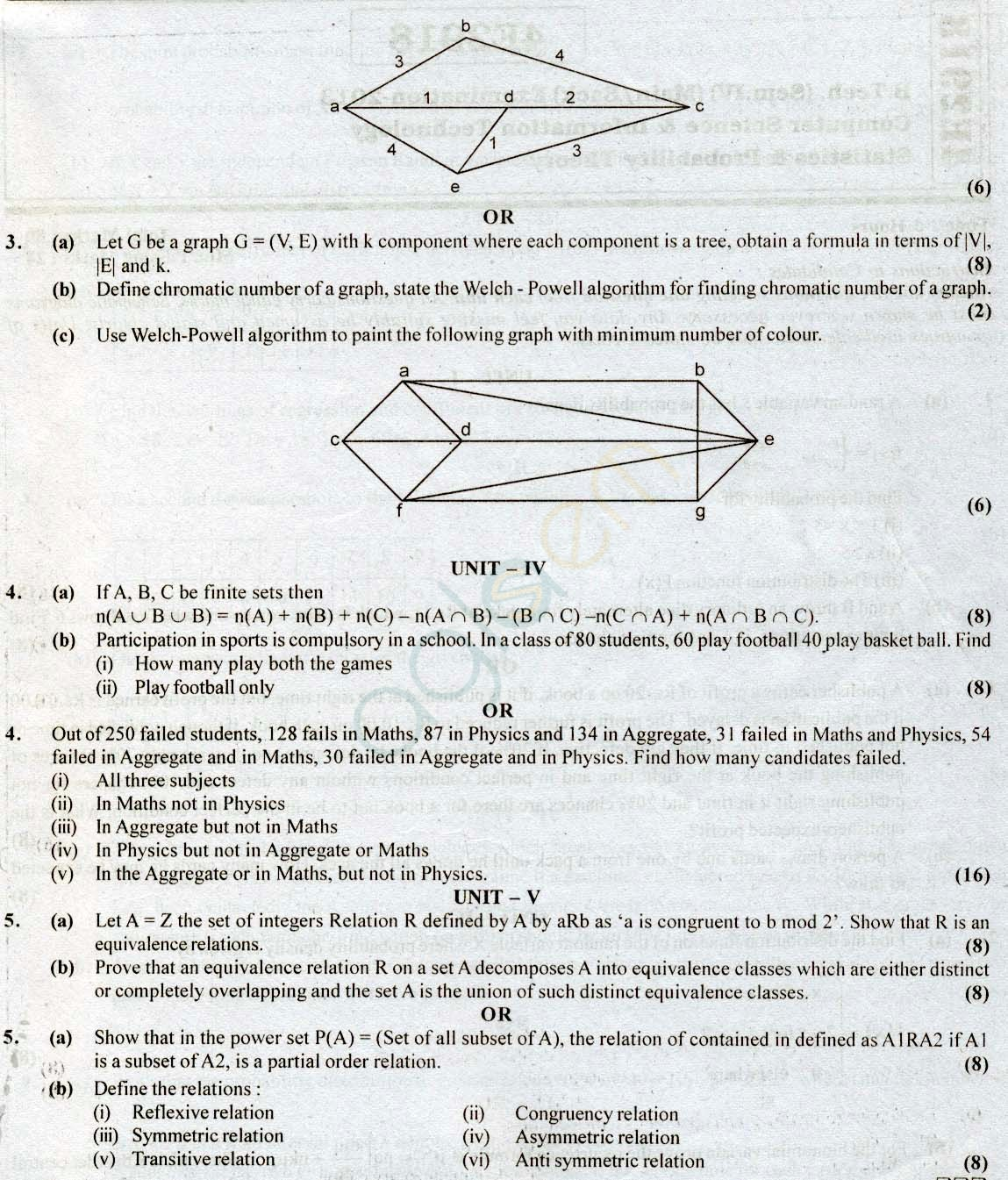 RTU: Question Papers 2013 - 4 Semester - CS & IT - 4E2917