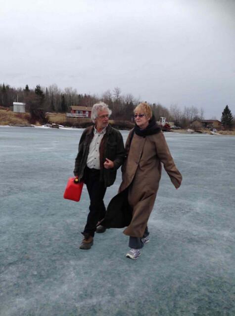 Barlow talks with Shoal Lake 40 spokesperson Cuyler Cotton.