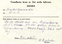 Melding om flystyrt ved Offiserskasinoet på Singsaker (1944)