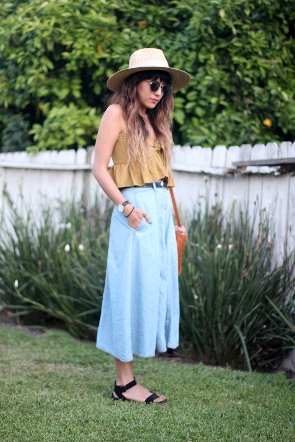 Stone Cold Fox Quixote Crop Top, vintage skirt, Brixton straw wide brim hat, Danielle Nicole Alexa bag, Daniel Wellington Watch