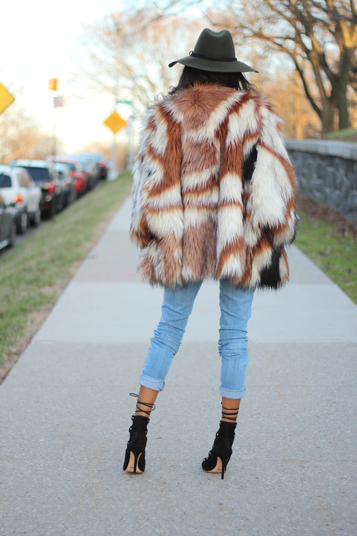Multi color faux fur coat