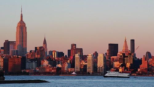nyc newyorkcity sunset architecture newport empirestatebuilding newyorkharbor a000475