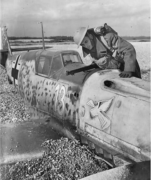 Havarovaný Messerschmitt Bf-109