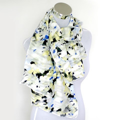 Long scarf with black yellow and blue splashes