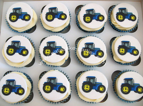 Tractor edible image cupcakes