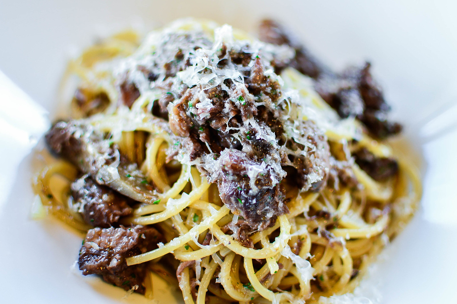 Spaghetti with ragout and wild boar meat<