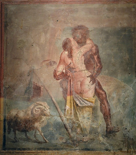 Fragment of wall painting depicting the Cyclops Polyphemus and the Nymph Galatea sensuously kissing in the arms of each other, also visible: ram, Pan flute, shepherd stick, from the House of the Ancient Hunt in Pompeii, Naples National Archaeological Muse