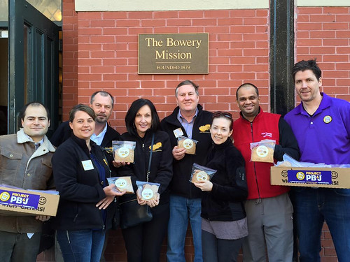To celebrate National Peanut Butter and Jelly Sandwich Day, the National Peanut Board, Which Which, and One Sandwich at a Time teamed up to make and deliver more than 1,000 PB&J's to New Yorkers in need at the Bowery Mission. Photo Courtesy of the National Peanut Board.
