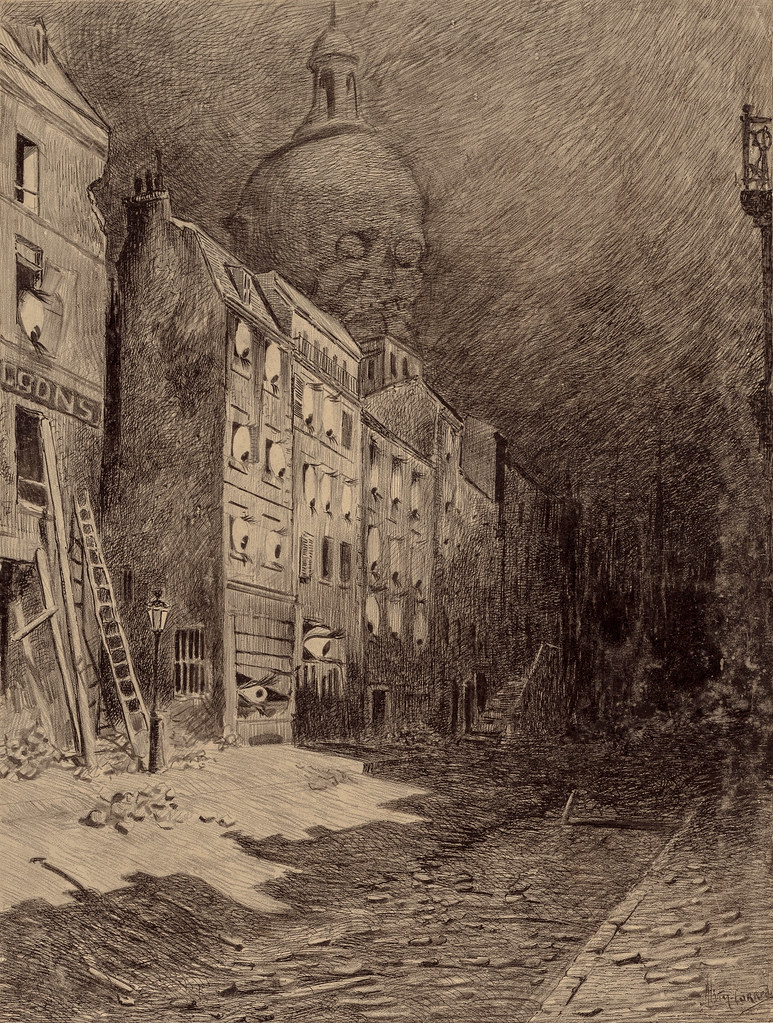"HENRIQUE ALVIM CORRÊA - Abandoned London, from The War of the Worlds, Belgium edition, 1906 (illustration from Book II - The Earth Under the Martians, Chapter IX - ""Wreckage,"")"